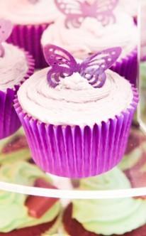 ein einzelner Schmetterling ziert diese Cupcakes