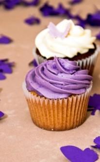 zwei Cupcakes mit unterschiedlicher Dekoration