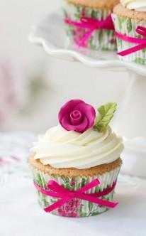 pinke Rose und pinkes Schleifchen