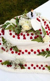 Brautpaar auf herzförmiger Hochzeitstorte