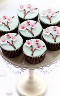 rosa Kirschblüten zieren diese Muffins