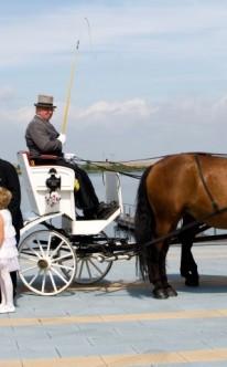 Brautpaar und Blumenmädchen vor einer weißen Hochzeitskutsche