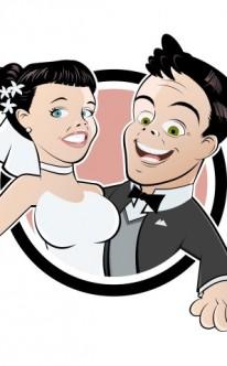 Karikatur vom Brautpaar