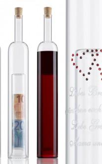 Geldgeschenke-Flasche mit Gravur und 2. Hohlraum