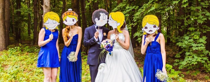 Brautpaar und Gäste
