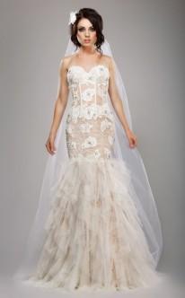 Trompeten-Brautkleid mit Spitze