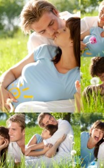 Fotocollage mit Bildern des Brautpaars