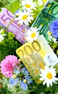 Geldscheine im Blumenstrauß für das Brautpaar
