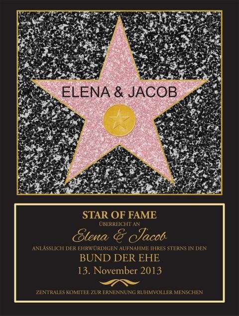 Walk of Fame Stern zur Hochzeit