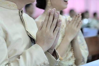 In Asien wird häufig buddistisch traditionell geheiratet