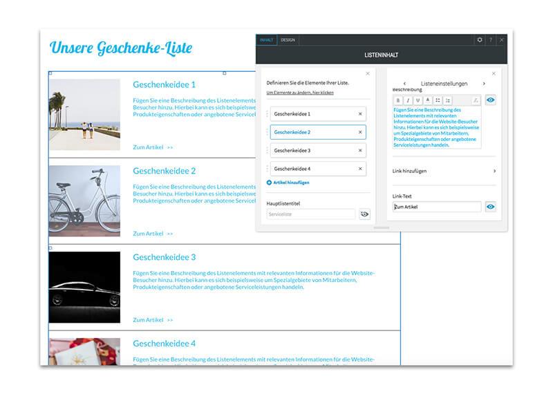 Virtuelle Geschenkliste für die Hochzeitshomepage