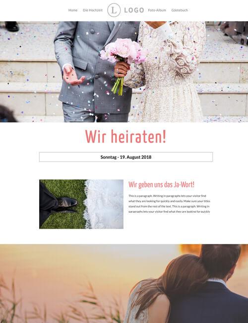 text eingeben und fertig ist ihre website - Hochzeitshomepage Beispiele